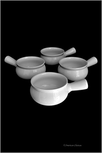 Set 4 Oven Crock White Porcelain French Onion Soup 14oz/414ml Dishes Bowls