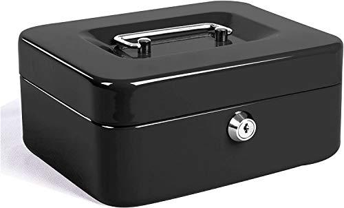 JORSION Locking Medium Steel Cash Box - Caja de almacenamiento con bandeja para monedas, 20 x 16 x 9 cm, color negro