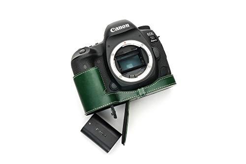 Canon キャノン EOS 5D MARK IV 5D4 専用 オープナブルタイプ 本革 ボディケース 底面開閉(電池,SDカード交換可) (カメラケース, グリーン)