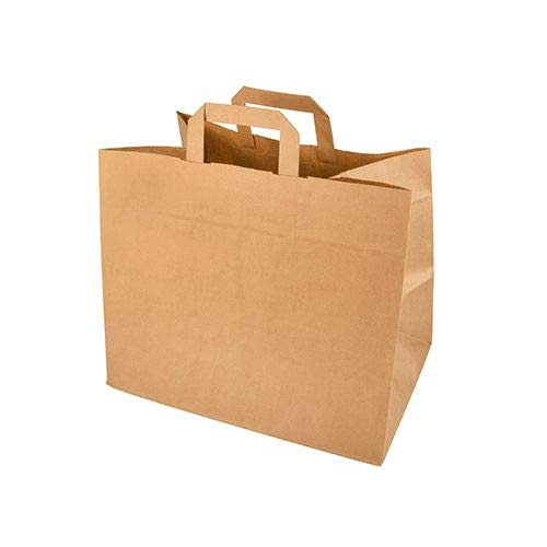 DeinPack 25 x Umweltschonende Papier Tragetaschen groß 32 x 18 x 26 cm I Papiertüten Papiertragetaschen biologisch abbaubar, kompostierbar I braune Papier Tüten