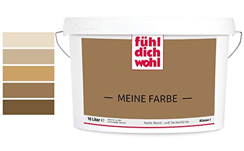 Fühl Dich Wohl Meine Farbe braun, matte Wandfarbe braun, hohe Deckkraft, verschiedene Brauntöne zur Auswahl (2,5L, Olivbraun E5-39)