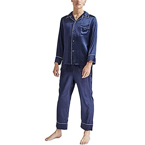 pigiama uomo pantaloni Pigiama da Uomo di Seta di Gelso Plain Home Service Suit Pantaloni A Maniche Lunghe 2-Piece Pjs Set Nightshirts Sleepwear