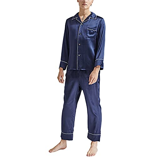 Pigiama da Uomo di Seta di Gelso Plain Home Service Suit Pantaloni A Maniche Lunghe...