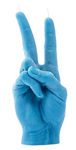 CandleHand Candela gesto mano SEGNO DI PACE - Grande mano reale Dimensioni 20 x 7 x 7 cm - Statua del vincitore fatta a mano - Compleanno, ufficio, regalo di inaugurazione della casa (Blu)