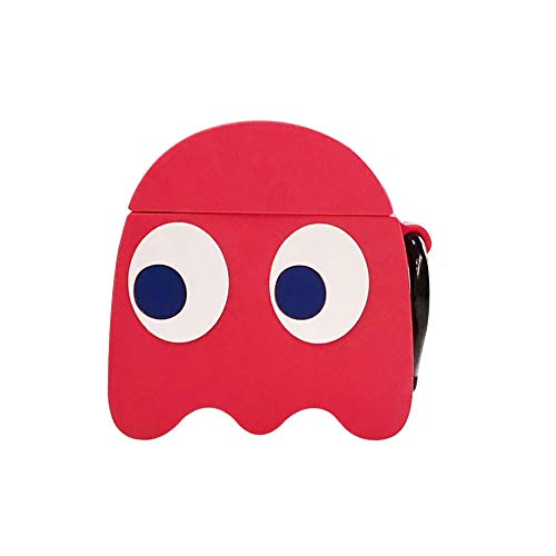 UR Sunshine AirPods Case, Super Funny Creative Game Pac-Man Ghost Face Monster Shape AirPods Case, Soft Silicone Earphone Protectior for AirPods1&2+Hook -Red