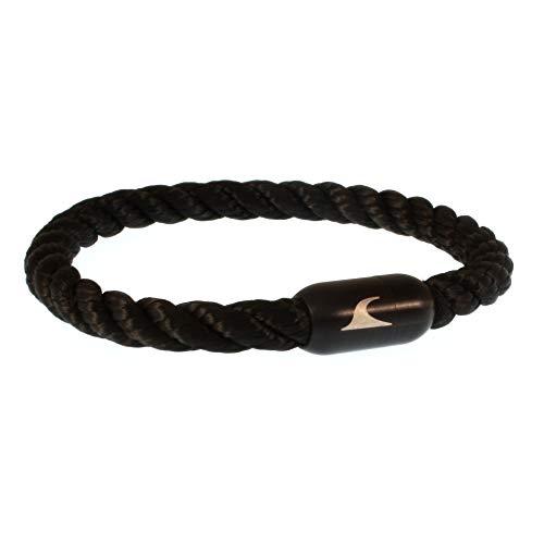 WAVEPIRATE® Segeltau-Armband Sylt K Schwarz/Schwarz 20 cm Edelstahl-Verschluss in Geschenk-Box Männer Damen Herren