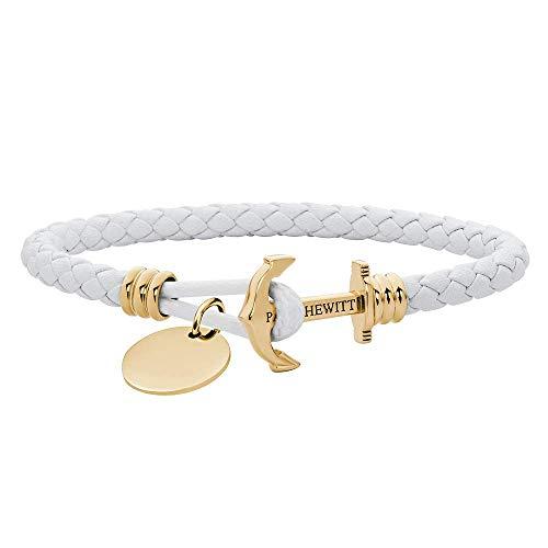 PAUL HEWITT Anker Armband auf einem Gravur PHREP LITE - Segeltau Armband Leder Damen und Herren (Weiß), individuelle Wunschgravur auf einem Anhänger Schmuck aus IP-Edelstahl (Gold) in Größe M+