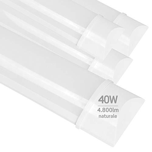 4x Plafoniere LED 40W 120cm Professionale Alta Efficienza Garanzia 5 Anni 4800 lumen - Forma: Tubo Prismatico Slim - Luce Bianco Naturale 4000K - Fascio Luminoso 120°