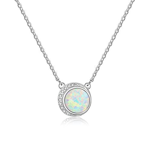 KristLand Cadena de plata de ley S925 para mujer, diseño de luna y ópalo con circonitas, minimalista, joyería bohemia