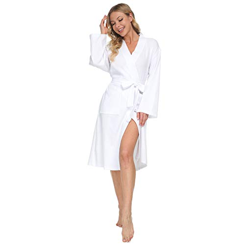 Mnemo Damen Badementel Waffel Typ Kimono Baumwolle Morgenmantel Saunamantel mit Taschen