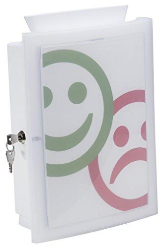 HAN IMAGE'IN Sammelbox in Weiß – Abschließbare Box geeignet als Spendenbox oder Meckerkasten aus Kunststoff – Zur Wandmontage oder frei stehend und individuell gestaltbar – 260x128x375mm (BxTxH)