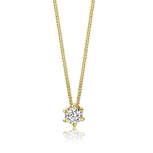 Orovi Collar para mujer de oro amarillo de 0,15 quilates, diamante solitario brillante de 14 quilates (585), 45 cm de largo, hecho a mano en Italia
