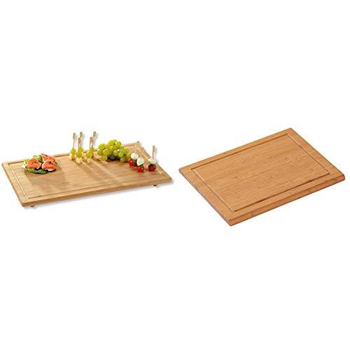 Kesper Herdabdeckplatte, Holz, Braun, 50 x 28 x 4.5 cm & 58100 Schneidebrett aus FSC-zertifiziertem Bambus, 31 x 21 x 1.6 cm