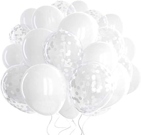 60 Pack White Balloons White Confetti Balloons w Ribbon Latex Balloons 12 Inch Balloon White product image
