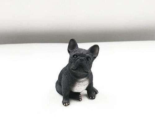 Resin Mini French Bulldog Figurine Office Home Car Dashboard Ornament Decor Handicraft Animal Lover Gift (Black)