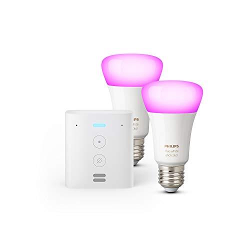 Oferta de Echo Flex + Philips Hue White & Color Ambiance Pack de 2 bombillas LED inteligentes, compatible con Bluetooth y Zigbee, no se requiere controlador