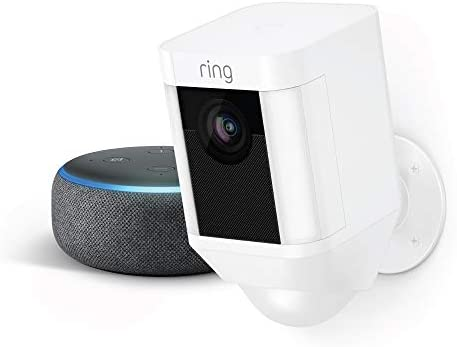 Ring Spotlight Cam Battery White with Echo Dot Charcoal product image
