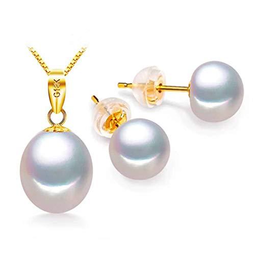 Colgante y Pendientes para Mujer de Oro Amarillo de 18K Gold Clase de las Perlas AAA de 8mm Juego de joyas para Mujer con perlas de agua dulce