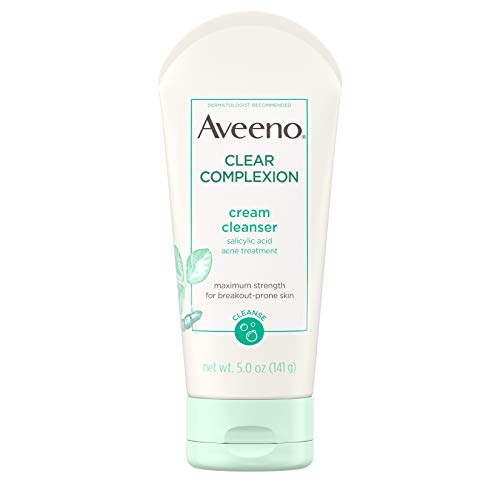 Aveeno Clear Complexion Cream Facial Cleanser with Salicylic Acid Acne...