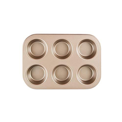 6/12 trous profonds Cupcake Muffin Pan/Tin cuisson plateau en acier au carbone antiadhésif moule de cuisson outils de cuisson (Color : Gold, Taille : 6 Holes)