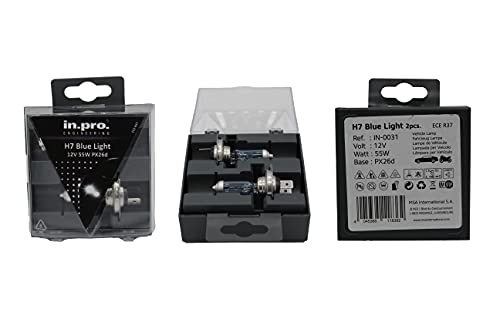 in. pro 011836 H7 Ampoules halogènes Twin Box, Sky Blue, 12 V, 55 W