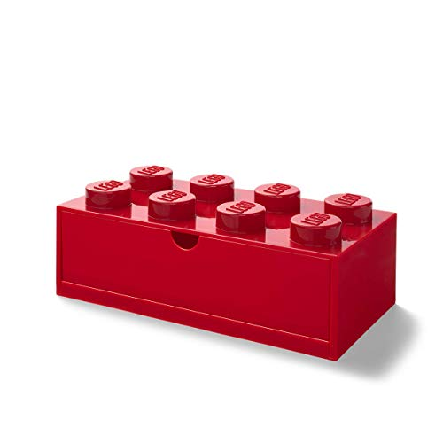 LEGO Cajón de Escritorio con 8 pomos, apilable, Color Rojo, Grande, Large