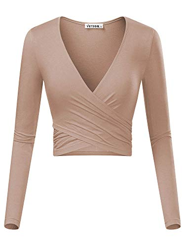 VETIOR Women's Deep V Neck Long Sleeve Unique Cross Wrap Slim Fit Crop Tops (Medium, Camel)