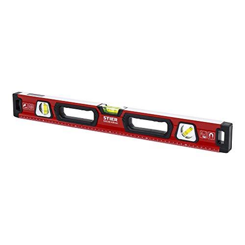 STIER Premium Wasserwaage, mit Magnet und drei Libellen, 600 mm, 0,5 mm/m, vertikal und horizontal messen