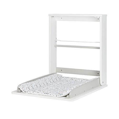 Badabulle Table à Langer Murale Plouf, Pliable et Compacte 57 x 75 x 13 cm Pliée, Facile à Installer, Matelas à Langer et Rangements Intégrés, Jusqu'à 11 kg