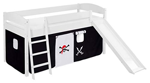 Lilokids Spielbett IDA 4105 Pirat Schwarz Teilbares Systemhochbett weiß-mit Rutsche und Vorhang Kinderbett, Holz, 208 x 220 x 113 cm