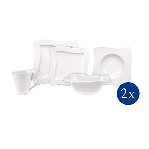 Villeroy & Boch NewWave Starter-Set, 10-teilig, Premium Porzellan, Weiß