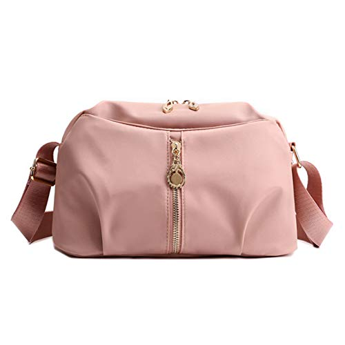 Bolso De Nailon Para Mujer Bolso De Hombro Ligero Bolso Diagonal Bolso De Viaje Bolso De Mamá Cartera(Size:27 * 10 * 16cm,Color:Rosa)