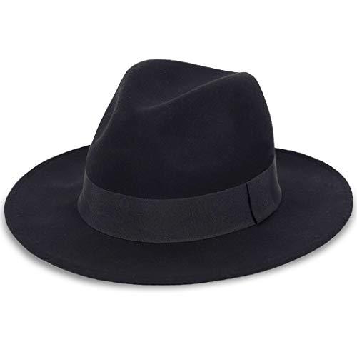 FORBUSITE Damen Herren Fedora Hut - 100% Australien Wolle - Schwarz Hut - Herrenhüte Winter - Große Krempe - Large