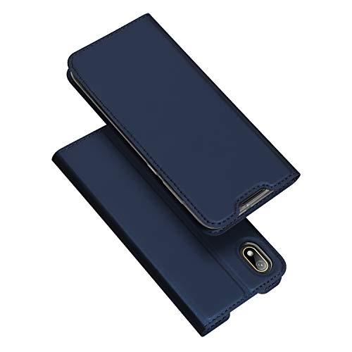 DUX DUCIS Hülle für Huawei Y5 2019, Leder Flip Handyhülle Schutzhülle Tasche Hülle mit [Kartenfach] [Standfunktion] [Magnetverschluss] für Huawei Y5 2019 (Blau)