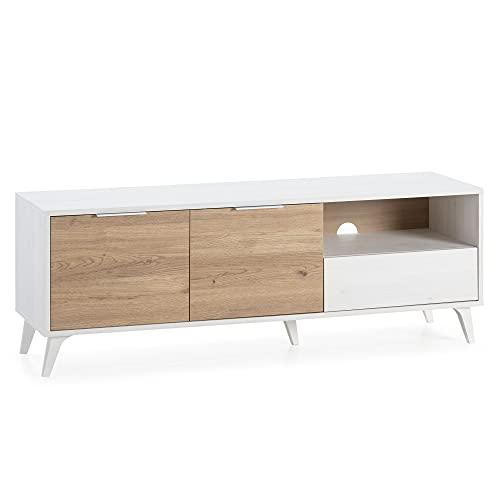 Mueble TV Koln 2 Puertas y 1 cajón, Color Blanco Cepillado y Madera, 136,5 cm (Ancho) 40 cm (Profundo) 48,5 cm (Altura)