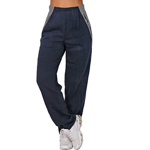 Candygirls High Waist Reißverschluss Thermo Jogging Hose Trainingshose Sporthose Fitness P8102 (Blau, XXL)