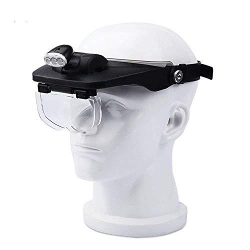 CKQ-KQ -Head Mounted HD glas, Glas met LED verlichting, geschikt for ouderen, kinderen, Boeken lezen, Repareren Gravure Mobile Phone Klok, Zwart