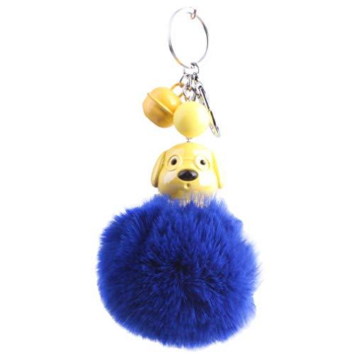 Schlüsselanhänger plüsch Ball Cartoon Mini Hund DIY Mode Plüsch-Kugel Pompom Charm Weich Schlüsselring bommel Keychain Autoschlüssel-Anhänger Handtaschenanhänger Dekor Geschenk (# 8)