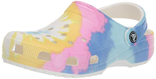 Crocs unisex adult Classic Tie Dye | Comfortable Slip on Water Shoes Clog, Pastel Tie Dye, 6 Women 4 Men US