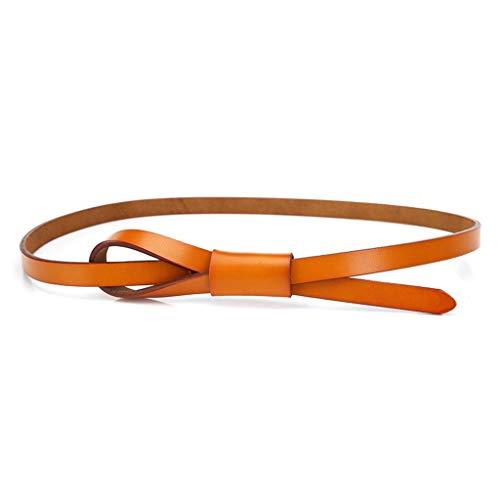 HYDYI-PD Lady Ledergürtel, glatt, dünn, modisch, verknotet und lässig, Camel Farbe, 100cm