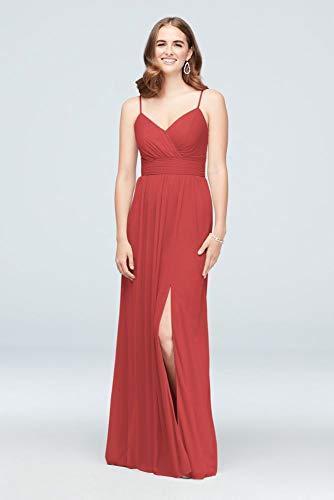 David's Bridal Spaghetti Strap Ruched Waist Mesh Bridesmaid Dress Style F19944, Guava, 4