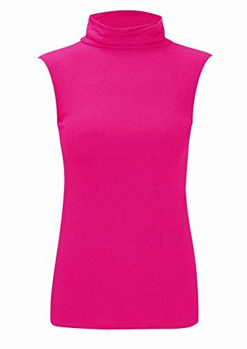 Islander Fashions Damen Plain �rmelloses Polo-Neck Top Damen Abendkleid Party Rollkragen Top Fuchsia Small/Medium