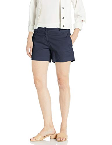 Nautica Women's Comfort Tailored Stretch Cotton Solid and Novelty Short, Navy, 10
