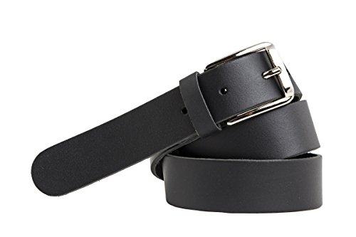 shenky - Cinturón de cuero con rosca - 3 cm de ancho - Negro - Cintura de 85 cm