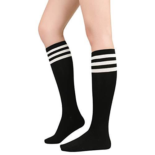 Womens Athletic Socks Outdoor Sport Socks Thigh High Tights Stockings Casual Stripes Tube Socks 1 Pack Black White
