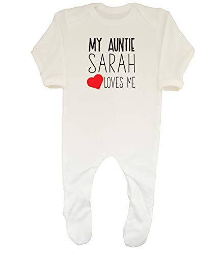 Shopagift Baby Personalised Any Name My Auntie Loves Me Sleepsuit Romper White