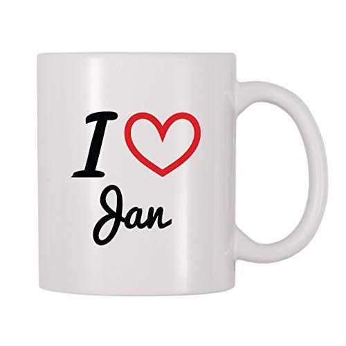 Taza de café, taza de té, taza de té, taza de café con nombre personalizado I Love Jan, taza de té de café de 11 onzas para mujeres y hombres