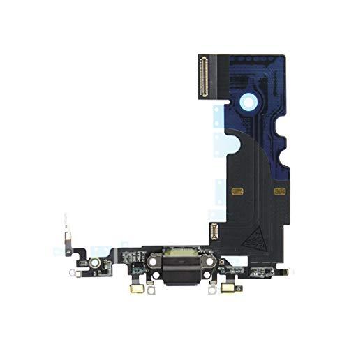 OnlyTech - Conector de Carga de Repuesto Compatible con iPhone 8 - Dock de Repuesto con Cable Flex, Micrófono y Antena. Color Negro