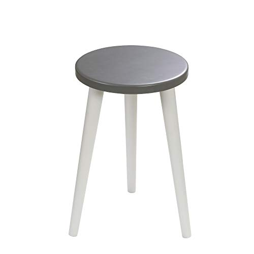 BIM Furniture Schemel Crystal White K MoonWood stoel kruk houten kuip rond wit blauw roze platt natuurlijke eiken eettafel kruk dressing hoogte: 47 cm zitting Ø 30 cm grafiet + grijs.