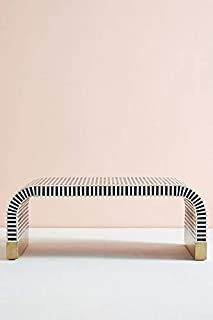 Handmade Indian Traditional Bone Inlay Waterfall Coffee Table in White & Blue Colour